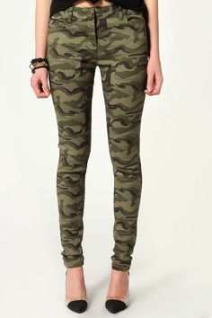 Mindy Military Styled Skinny Jeans from Boohoo