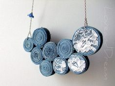 recycled denim jeans necklace