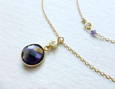 Amethyst Bezel Set Necklace. $38.00, via Etsy.