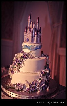 Walt Disney World Wedding Cake with Castle in Lavender. I'll take it-minus the flowers and add more hand painted details