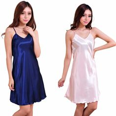 Merry Pretty New Women s Sexy Nightgowns faux silk Spaghetti Straps pijamas  Solid V-neck Summer Sleepwear Night Gowns for lady fbb9e4c21