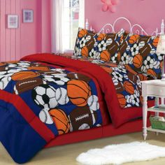 Sporty Sports Themed Comforter & Sheet Set Twin Size by Laurens Linens. $39.99