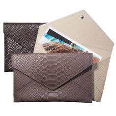 python embossed leather envelope