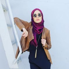 Fuchsia hijab and asymmetrical leather jacket - check out: Esma <3