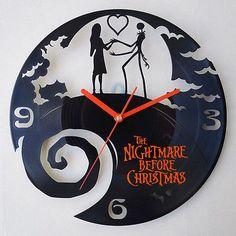 The Nightmare Before Christmas ,vinyl record laser cut modern wall clock Nightmare Before Christmas Clock, Tim Burton Art, Cool Clocks, Ebay Shopping, Vinyl Records, Modern Wall, Cool Stuff, Unique Jewelry, Handmade Gifts