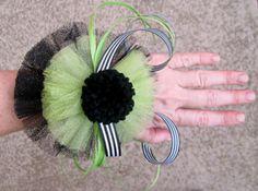 Pom Pom Jewelry Wrist Corsage or Clip Green and by TasselArabella, $22.00