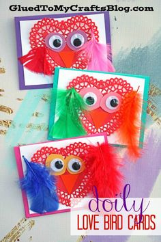 Paper Doily Love Birds Cards - Valentine's Day Kid Craft Idea #valentinesday #gluedtomycrafts #kidcrafts #classroomcraft