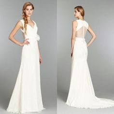 2015 Designer Wedding Dress A Line V-Neck Spaghetti Straps See-Through Back Sweep Train With Hand Made Flower Bridal Gowns Prom Dresses Online with $104.72/Piece on Beautiful_wedding's Store | DHgate.com