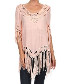 Another great find on #zulily! Pink Fringe Scoop Neck Tunic #zulilyfinds