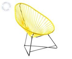 The Acapulco chair, a lounge chair that was designed in the and was named after the famous Mexican resort, has a ANTI-UV steel frame, powder-coated base and a woven plastic ring, which makes it super comfortable and a great choice for your sunbathing!