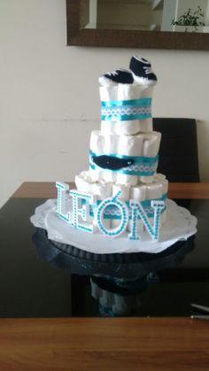 Torta de pañales... Baby shower León ❤