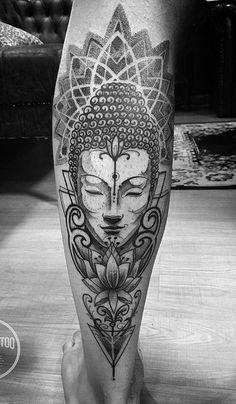 Buddha and mandala tattoo Buddha Lotus Tattoo, Buddha Tattoo Design, Buda Tattoo, Tattoos 3d, Body Art Tattoos, Sleeve Tattoos, Tattos, Mandala Tattoo Mann, Mandala Tattoo Design