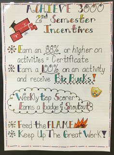 Achieve 3000 Incentives Chart For The Second Semester Grades 2 5