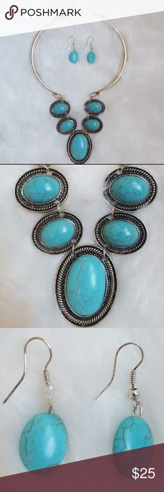 🆕 Silver & Faux Turquoise Statement Set Beautifully Crafted. Bar Necklace witj 2 inch extender. Included Earrings. Nickel and Lead Free! Custom Boutique Jewelry Necklaces