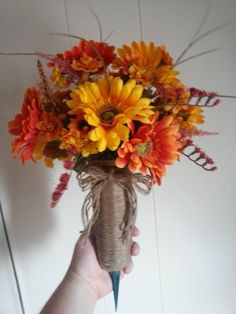 Cemetery flower arrangement ! Vase is wrapped in Jute Twine for that extra special touch!