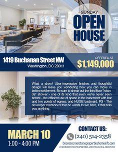 OPEN HOUSE coming up! Sunday, March 10 (1:00 - 4:00 PM) 1419 Buchanan Street NW, Washington, DC 20011 Buchanan Street, Three Floor, Open House, Washington Dc, March, Sunday, Design, Domingo, Mac