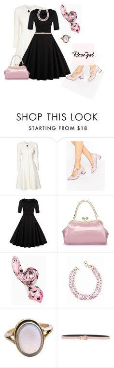 """outfit 5611"" by natalyag ❤ liked on Polyvore featuring Carolina Herrera, Glamorous, Kate Spade, Talbots, Cédric Charlier, vintage, Fall, chic, black and rosegal"