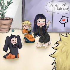 Hinata thinking she's a weirdo for doing this and Naruto's thinking it's adorable.