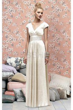 Dropped Short Sleeves Pleats Floor-length Vintage Bridesmaid Dresses- 30%-70% Off Australia - Dresshop.com.au