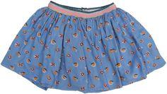 Simple Kids - zachtblauwe rok print - Zachtblauwe rok in een mooie print. Elastische tailleband met een streep roze, marinebaluwe lurex, zilveren lurex en gouden lurex. Losse voering. Samenstelling: 100% viscose en voering 100% katoen.