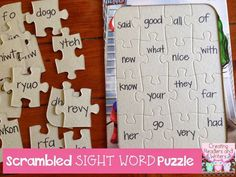 Sight Word Practice Puzzles:  Children unscramble the letters in the mixed-up sight words to put the puzzle back together.  (Blog Post from Creating Readers and Writers)  #sightwords