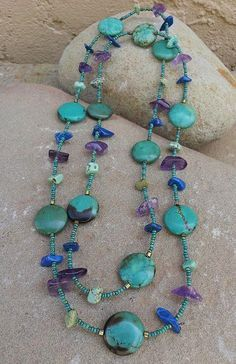 vintage style turquoise chain necklace with seed bead