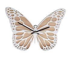 Reloj de pared en madera Mariposa