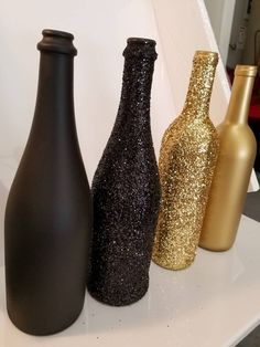 Set of 4 - Great Gatsby / Roaring themed GLITTER Wine Bottles Sparkling Wedd., Set of 4 - Great Gatsby / Roaring themed GLITTER Wine Bottles Sparkling Wedding Bridal Party Centerpiece or Home Decor bling. Glitter Wine Bottles, Bling Bottles, Gold Bottles, Painted Bottles, Champagne Bottles, Paint Wine Bottles, Liquor Bottles, Glass Bottles, Roaring 20s Party
