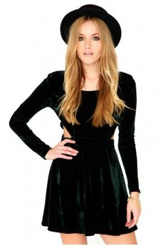 Long Sleeve Velvet Cut Out Dress