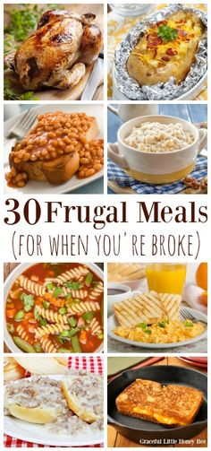 Check out this list of extremely cheap and frugal meal ideas for when youre broke. Find the frugal meals on gracefullitt Cheap Meals For Two, Cheap Meal Plans, Meals For Four, Inexpensive Meals, Cheap Dinners, Cheap Quick Meals, Cheap Large Family Meals, Healthy Cheap Meals, Extremely Cheap Meals