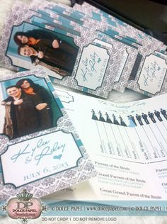 Tiffany Blue Teal & Black Damask Trifold Wedding Programs from DolcePapel.com