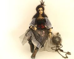 Night Lily steampunk art doll cloth Goth by ConchyGemDolls on Etsy, $80.00