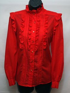 00ab08b359b Women s Red Blouse with Ruffles Vintage Cotton Top Retro Western Shirt.   18