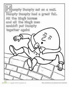 Preschool Fairy Tales Nursery Rhymes Worksheets: Humpty Dumpty Nursery Rhyme