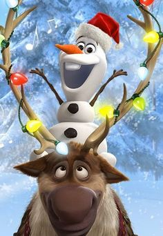 Olaf and Sven celebrate Christmas Phone Wallpaper
