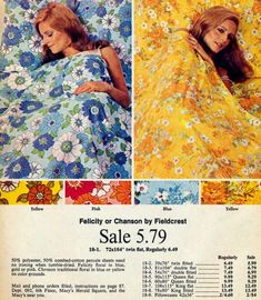 Vintage 1970s Twin Sheet Set Montgomery Ward Yellow Orange Flowers Groovy Bright Flat Fitted
