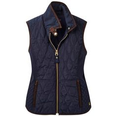 Women's Joules Braemar Curved Quilt Gilet ($99) ❤ liked on Polyvore featuring outerwear, vests, quilted vest, vest waistcoat, blue vest and blue quilted vest