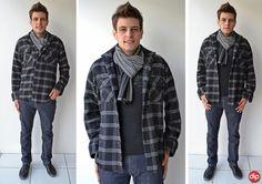 Para os dias mais frios invista em um casaco xadrez mais grosso e combine com um cachecol. Não tem erro! =)