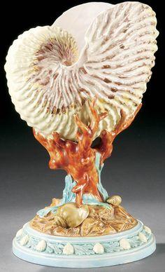 Royal Worcester Majolica Shell Vase, 19th Century.