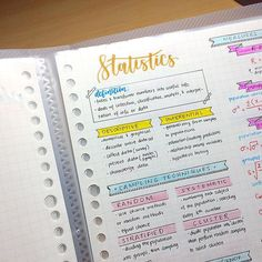 Image about cute in ✩ study inspo by ♕alex on We Heart It Cute Notes, Pretty Notes, Beautiful Notes, Class Notes, School Notes, Statistics Notes, Study Organization, Organizing, College Notes