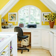 """Attic ---> My Personal Office/Hobby Room"" --- The attic in my BHG Dream Home has been converted into a comfy little office and hobby room. Who wouldn't love getting some work done in this cheery little corner? :)"