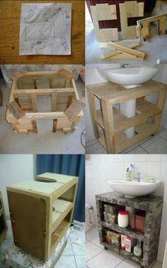 Best Kitchen Wood Diy Bathroom Ideas - Home Decor Diy Bathroom, Small Bathroom Storage, Wall Storage, Bathroom Organization, Bathroom Vanities, Room Interior, Interior Design Living Room, Diy Casa, Diy Holz