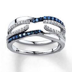 Blue/White Diamonds 3/8 ct tw Enhancer Ring 14K White Gold $1300