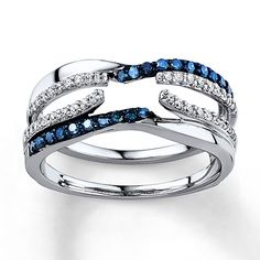 Blue/White Diamonds 3/8 ct tw Enhancer Ring 14K White Gold