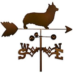 @Overstock - This weathervane is handmade of strong 14-gauge steel with a sealed ball bearing in the wind cups. The weathervane is coated with copper-colored powder coat paint, and features a Welsh Corgi Pembroke dog.http://www.overstock.com/Home-Garden/Handmade-Welsh-Corgi-Pembroke-Dog-Copper-Weathervane/6575550/product.html?CID=214117 $52.99