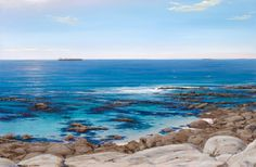 Painting of Sea Point - Triptych middle painting South African Artists, Seascape Paintings, Take Me Home, Triptych, Color Mixing, Middle, Ocean, Colours, Water