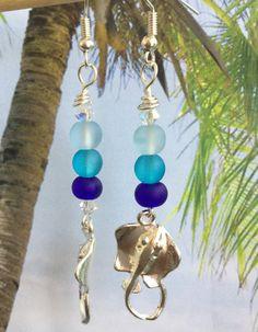 Sting Ray Sea Glass Earring Beach Glass by SeasideJewelry1