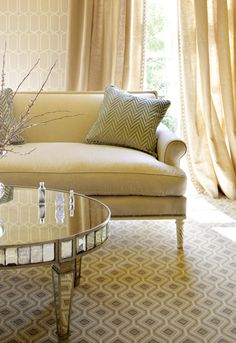 love the rug and the mirror table - Tufted Ottoman Coffee Table