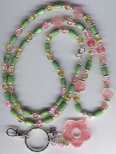 ID Badge Lanyards and Glasses Chains by GuardianAngelLanyard Wire Jewelry, Jewelry Crafts, Beaded Jewelry, Jewelery, Handmade Jewelry, Beaded Necklace, Beaded Bracelets, Lanyard Necklace, Beaded Lanyards