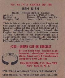 1948 Bowman #88 Ben Kish Back